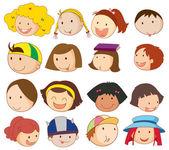不同的面孔 — 图库矢量图片
