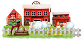 A farmer in front of the barnhouses — Stock Vector