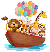 A boat full of animals — Stock Vector