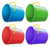 Four empty pails — Stock Vector