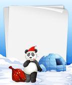 Panda and igloo — Stock Vector