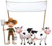 A farmer and his cows near the empty banner — Stock Vector