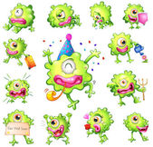 Set of green monsters — Stock Vector