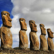 View of seven Ahu Akivi Moai, which are the only Moai to face the sea — Stock Photo
