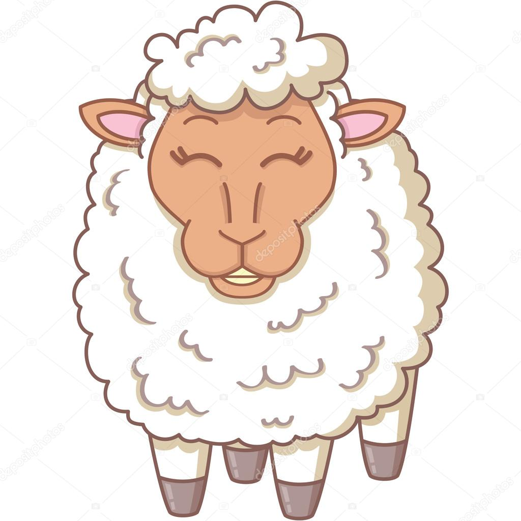 Vector illustration of cartoon white sheep — Stock Vector #12313720