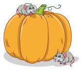 Rats and pumpkin — Stock Vector