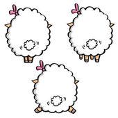 Backs of funny sheeps — Stock Vector