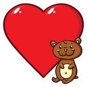 Teddy bear and heart — Stock Vector