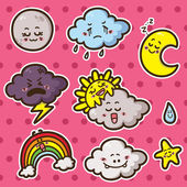 First kawaii set of weather icons. — Stock Vector