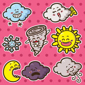 Second set of kawaii weather icons. — Stock Vector