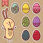 Doodle huevos de pascua. — Vector de stock
