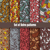 Retro doodle pattern collection — Stock Vector