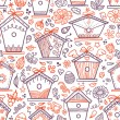Cute hand-drawn bird houses. — Vector de stock  #46972427