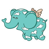 Cute doodle flying elephant. — Stock Vector