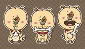 3 kawaii puppies. — Stock Vector