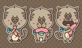 3 kawaii kittens. — Stock Vector