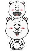 Kawaii polar bears. — Stock Vector