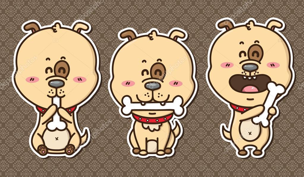 快乐卡通狗骨头的矢量图