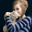 Stock Photo: Cat and Girl