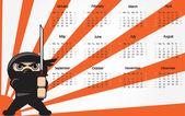 Ninja Calendar — Stock Vector
