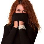Redhead sexy woman in black sweater — Stock Photo