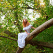 Bride sitting on a tree branch — Stock Photo