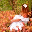 Woman sitting among red leaves in autumn forest. — Stock Photo #13667623