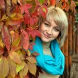Autumn portrait a lovely young gray-eyed blond woman — Stock Photo #13733793