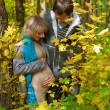 Love beautiful young pregnant couple in the autumn forest - Stock Photo