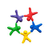 Koncepce týmové práce, z barevné hlíny. připraven pro váš text nebo logo. — Stock fotografie