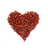 Heart symbol made ​​from coffee beans. Ready for your tex — Stock Photo