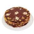 Home made chocolate cake with yellow stars — Stock Photo