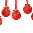 Five red and gold Christmas balls hanging on satin ribbon — Stock Photo #15065771