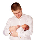 Father and newborn baby. Dad cradling baby. — Stock Photo