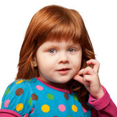 Pretty red-haired little girl face close-up — Stock Photo