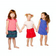 Three little girls holding hands. — Stock Photo #16038893