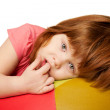 Portrait of little red-haired girl — Stock Photo