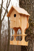 Wooden house with a feeding trough for birds — Stock Photo