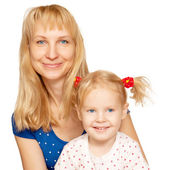 Happy blond mother and daughter faces — Stock Photo