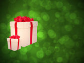 Gifts against the green bokeh. — Stock Photo