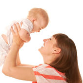 Happy mother and baby playing and laughing. — Stock Photo