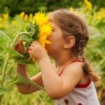 Child and sunflower — Stock Photo