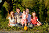 Big family, father, mother and three daughters — Stock Photo