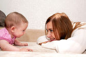 Mother and baby talking — Stock Photo