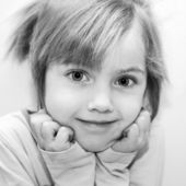 Black and white portrait little girl. — Stock Photo