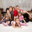 Smiling happy big family at home. — Stock Photo