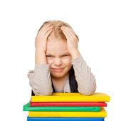 Cansada de aluna com dor de cabeça — Fotografia Stock