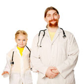 Two smiling doctors - father and daughter. — Stock Photo