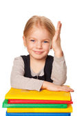 Cute girl raising a hand to answer. — Stock Photo
