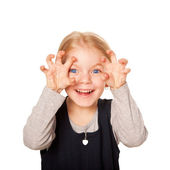 Little girl scaring. Isolated on white — Stock Photo